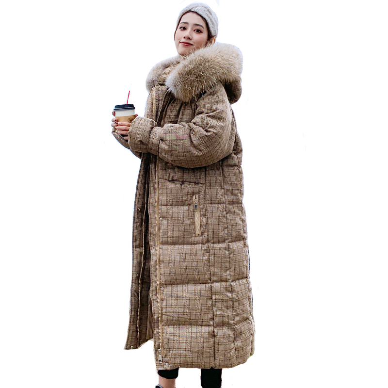 Korean Style 2019 Winter Jacket Women Hooded With Fur X long Down Coat Thicken Warm Padded