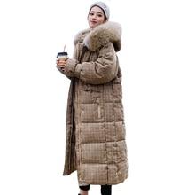 Корейский стиль зимняя женская куртка с капюшоном с мехом X-long пуховик утепленная стеганая парка высокого качества