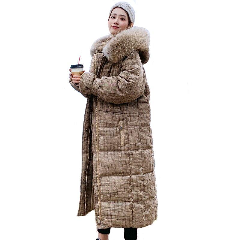 Корейский стиль 2019 зимняя женская куртка с капюшоном с мехом X long пуховик утепленная стеганая парка высокого качества