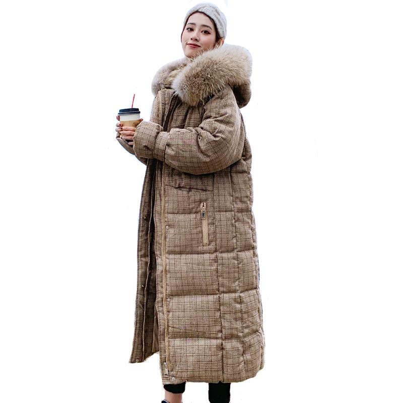 Koreanischen Stil 2019 Winter Jacke Frauen Mit Kapuze Mit Fell X-lange Unten Mantel Verdicken Warme Padded Parka Hohe Qualität