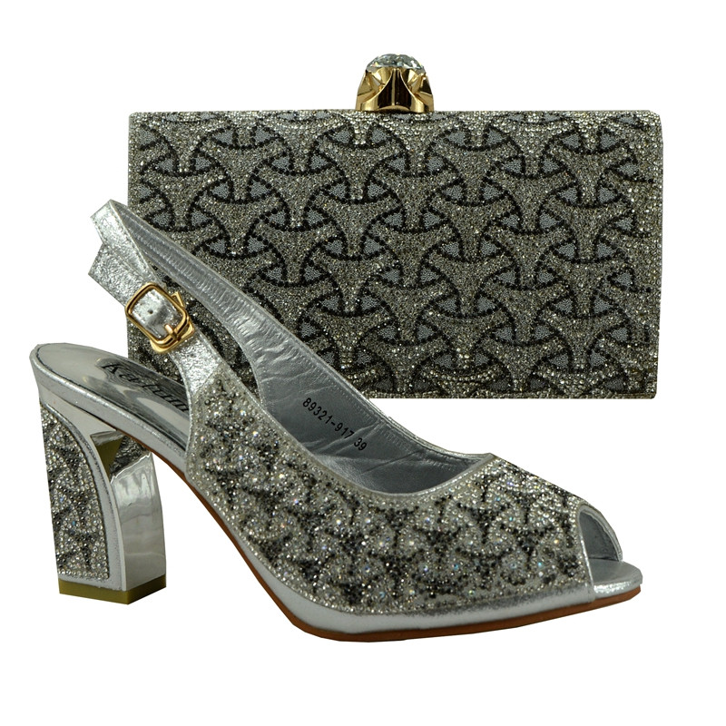 (89231-917) Italian Design Shoes With Matching Bags For Party, High Quality African Shoes And Bags Set With Silver Color