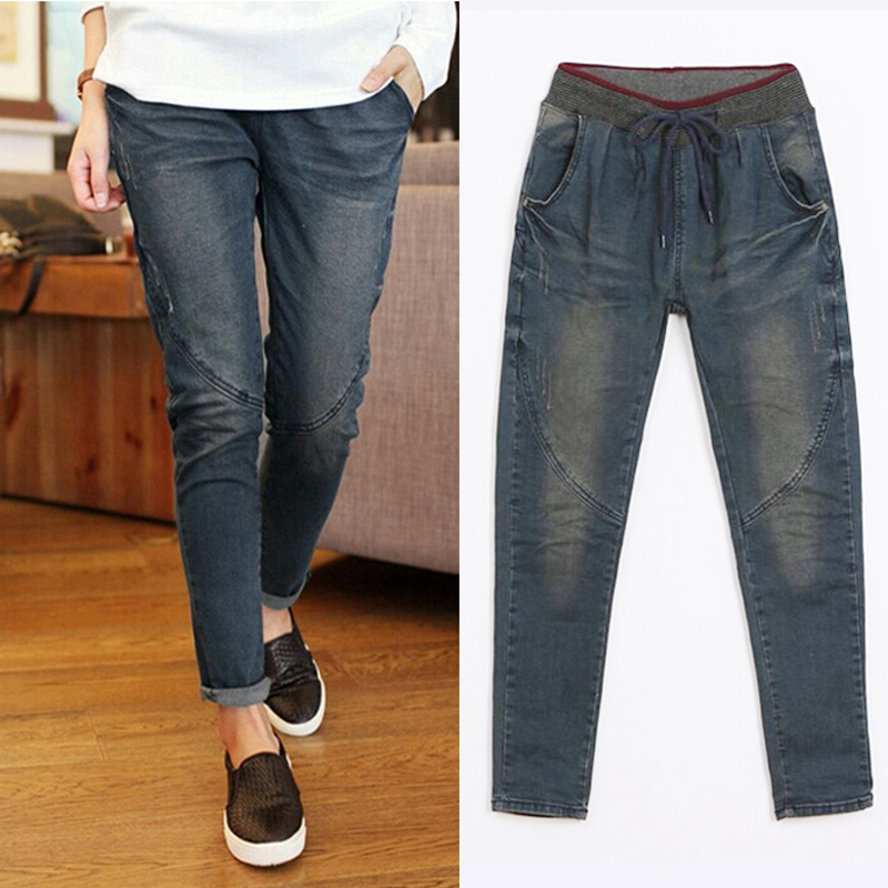 ФОТО 2017 new fashion spring and autumn women's jeans blue jeans loose hole harem pants vintage high waist wash jeans female 5XL XL