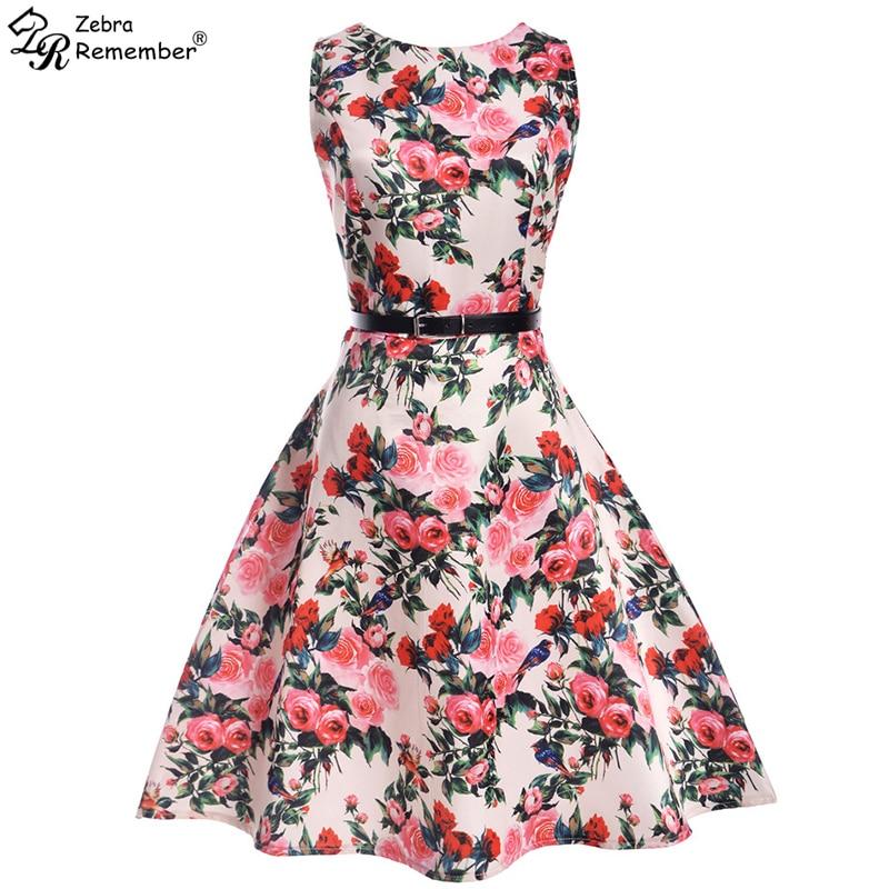 fc2e2c0866941 VOGUEON Summer Girls Dresses Sleeveless Flower Print Vintage Swing ...