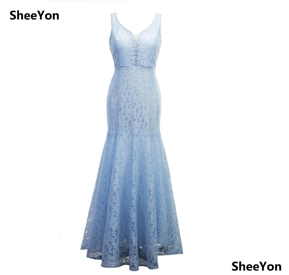 Light Blue Lace Dress Women Elegant Long Plus Size Maxi Dress ...