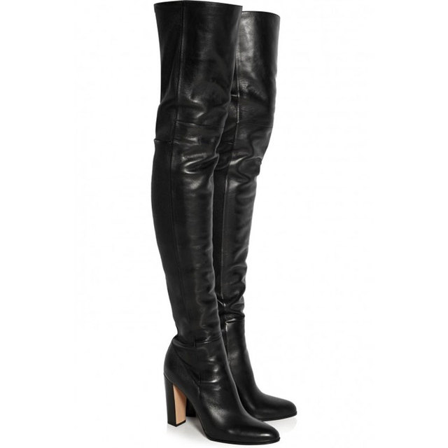 12fea5384bb US $102.73 30% OFF|Over The Knee Black Soft Leather Thigh High Ladies Boots  Chunky High Heels Slip On Spring/Autumn Zipper Solid Plain Woman Shoes-in  ...
