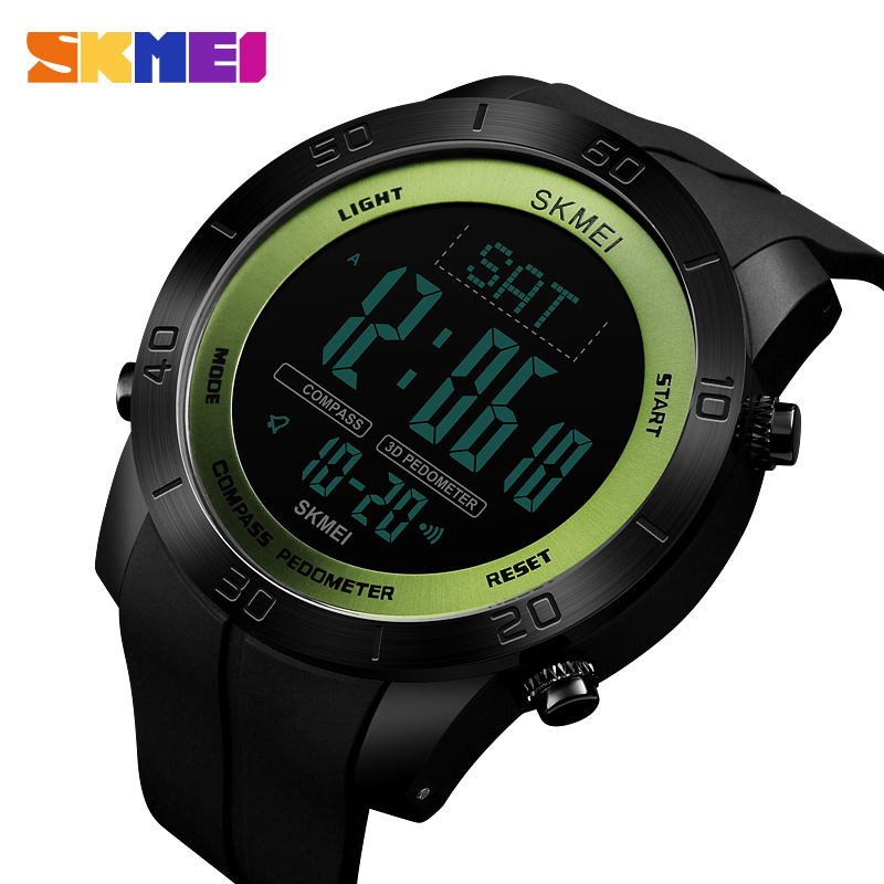 <font><b>SKMEI</b></font> Brand Compass Men Sports Watch Countdown LED Digital Military Watches Compass Multifunction Wristwatches Relogio Masculino image