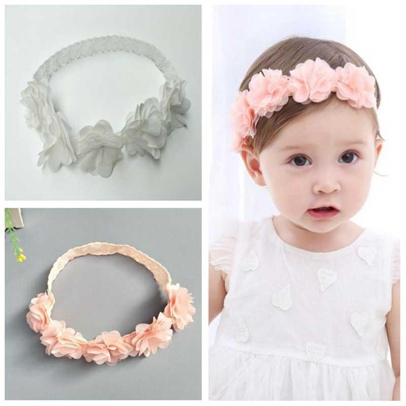Новое поступление Симпатичные для маленьких девочек малышей кружевное платье с цветочным рисунком лента для волос Головные уборы Дети оголовье аксессуары