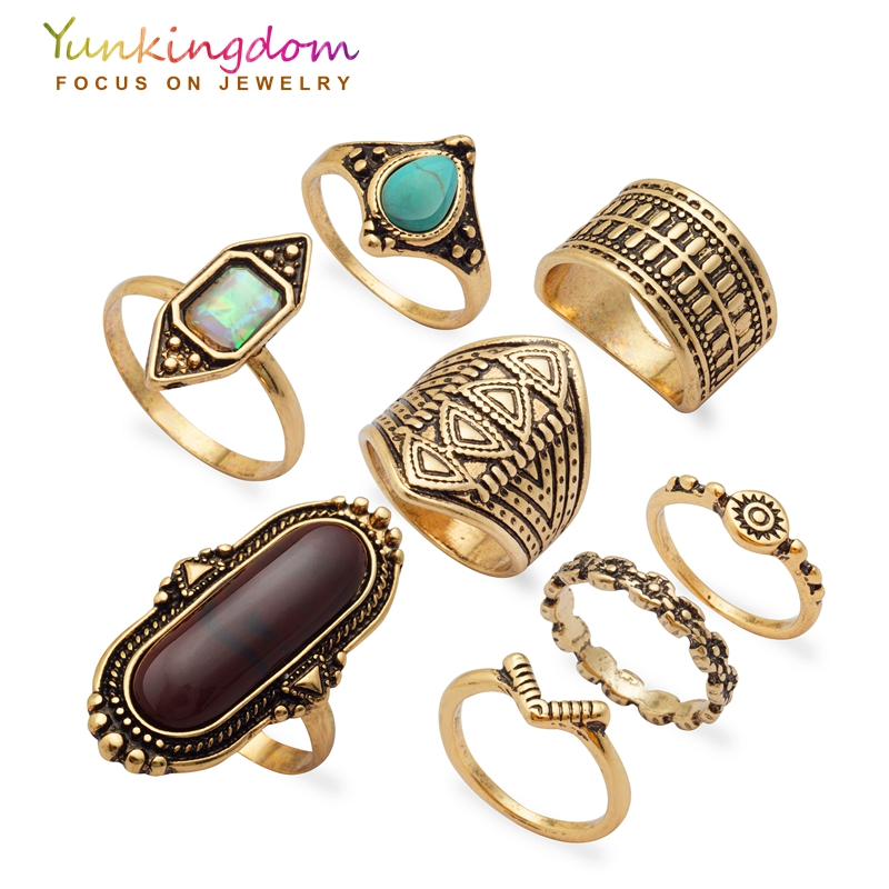 Yunkingdom New Vintage 8pcs Ring Set Fashion Party Rings For Women Ladies Jewelry Cheap