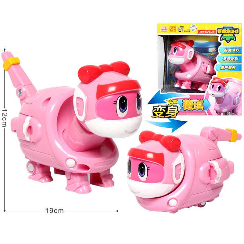 Yeni büyük Gogo Dino ABS deformasyon araba/uçak ile ses aksiyon figürleri REX/PING/TOMO dönüşüm dinozor oyuncaklar çocuklar için