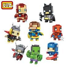 LOZ Мстители Капитан Америка Халк Железный Человек Тор Паук Человек-Муравей Бэтмен Мини Строительные Блоки Фигурку Дети DIY Игрушка