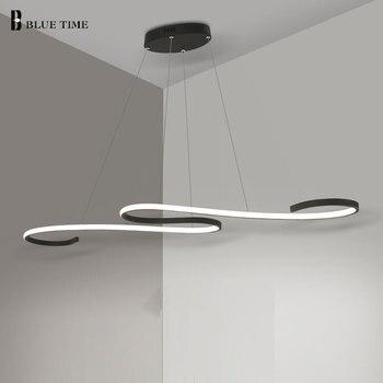 Kitchen Modern LED Chandelier Hanging Lamp For Living room Dining room Luminaires dec Led Chandelier Lighting Black/White Light