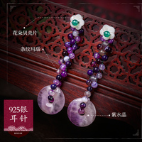 retro folk style, long Tassel Earrings, , 925 silver ear drop, 100% ear studs,