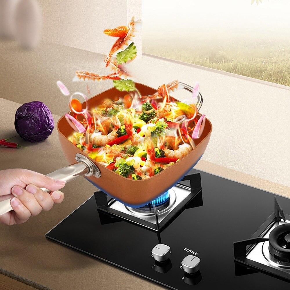 4in1 cuivre carré poêle panier à frire plateau à vapeur antiadhésif verre couvercle frire filtre panier vapeur Rack batterie de cuisine Set fournitures de cuisine