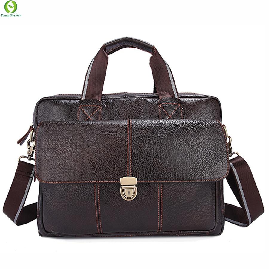 100% Genuine Leather Mens Briefcase Laptop Bags Mens Travel Bag Cowhide Men Shoulder Bags Business Man Handbag bolsa new 2016