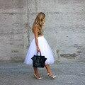 Чистый белый юбки линии ти-длина миди юбка простые юбки женщин