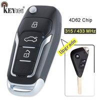 Keyecu 315/ 433 mhz 4d62 chip atualizado flip dobrável 3 botão remoto chave fob para subaru outback liberdade impreza wrx forester