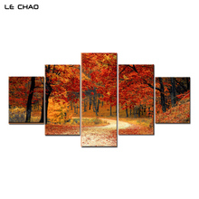 Фотография Canvas Painting Wall Art Modular Wall Paintings Art Red Forest Wall Pictures for Living Room or Bedroom Decoration Pictures