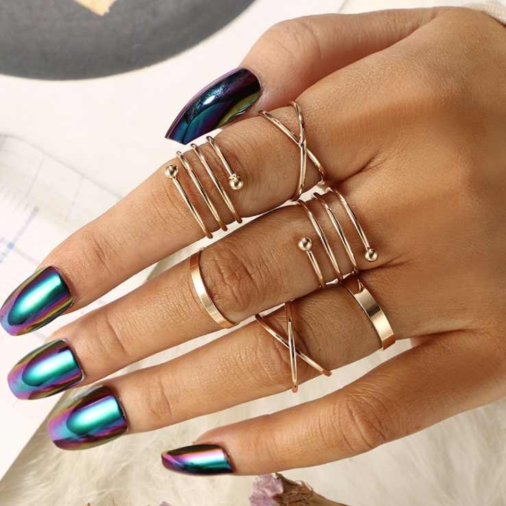 KNOCK  2019 Hot unique set of rings punk fist gold rings for women ring finger 6 pcs. ring set best selling