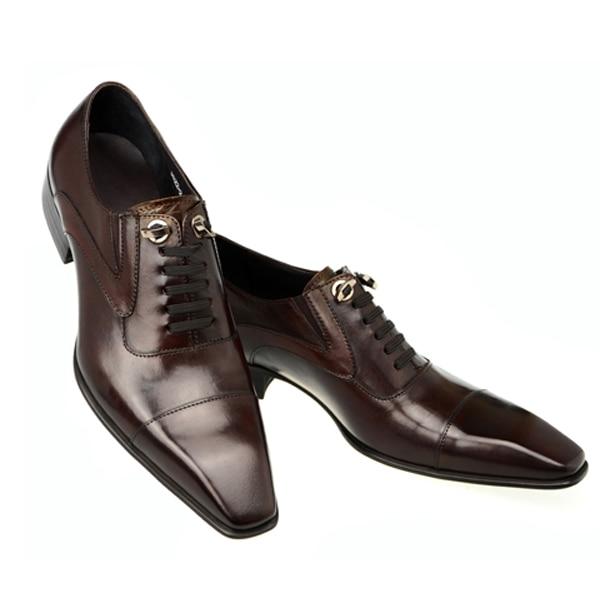 Fashion classic vintage mens dress shoes genuine leather black formal designer male shoes men flats business office Derby shoes
