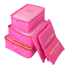 Waterproof Nylon Set of 6 Travel Storage Bag Luggage  for Clothes Underwaer Shoes(8Colors)