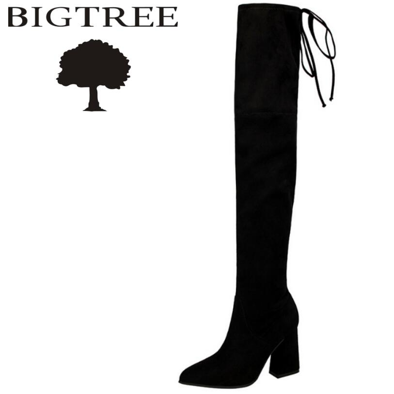 Bigtree 2017 New Autumn Winter Lace-Up Women Over -the-knee Boots Sexy Suede Slim Women Motorcycle Boots Thigh High Shoes Woman sexy thigh high flats women motorcycle boots lace up over the knee long celebrity woman boots shoes leather winter autumn shoes