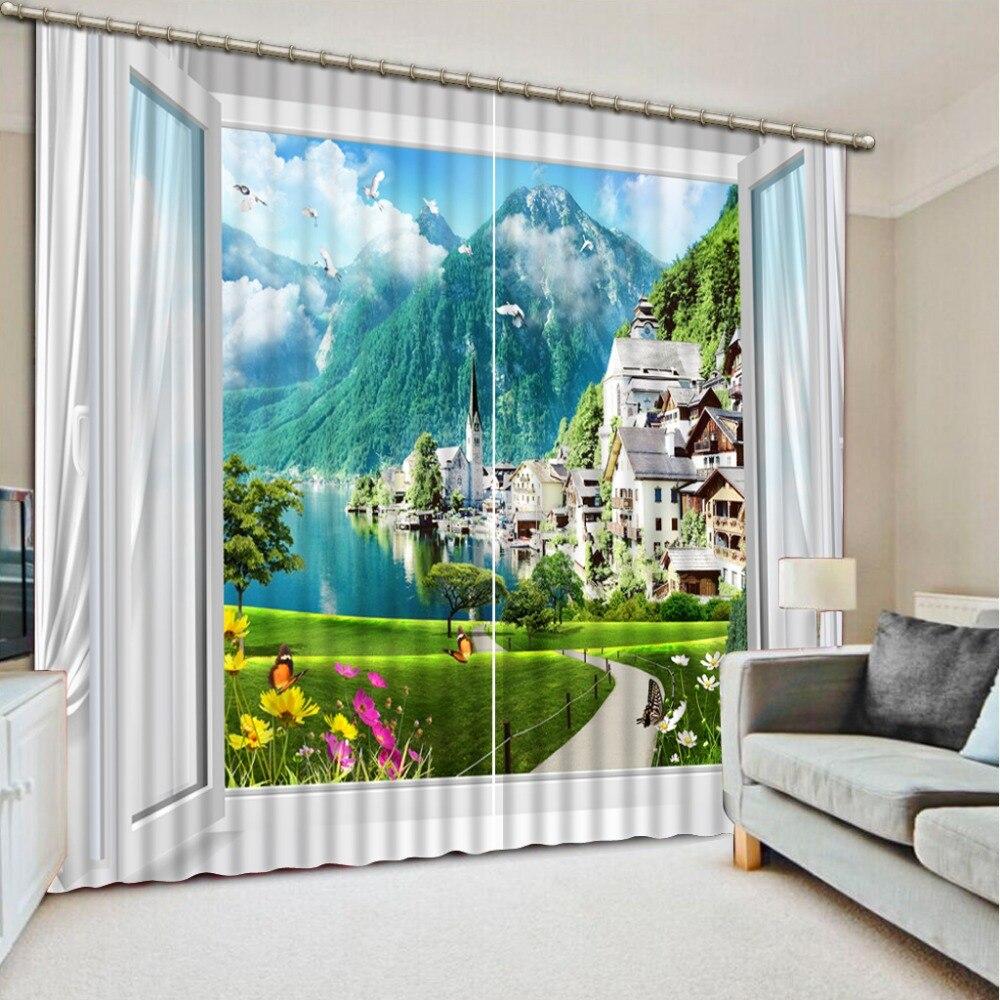 3d rideaux rideaux pour salon fen tre paysage rideaux pour. Black Bedroom Furniture Sets. Home Design Ideas