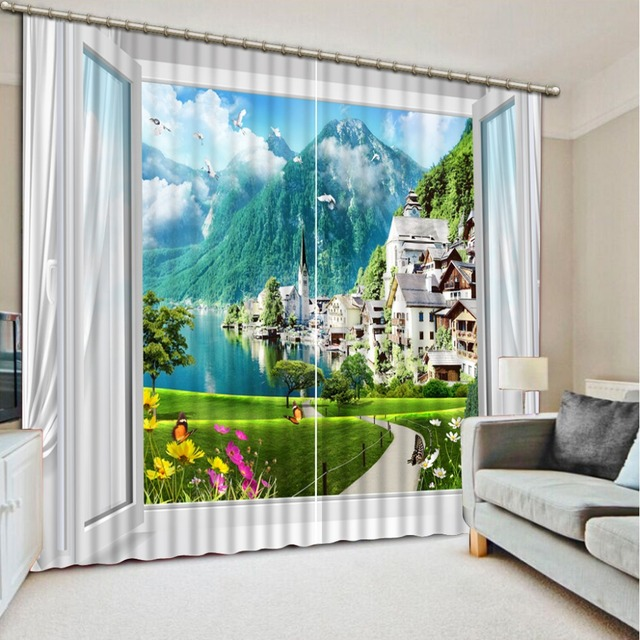 Curtains for living room Window scenery Curtains for bedroom Curtain window  room Home Decoration