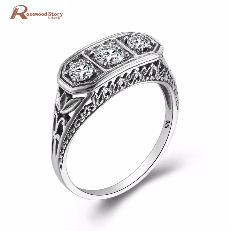 цена на Luxurious Vintage Wedding Accessories Round Shaped Cut Cubic Zirconia Ring Soild 925 Sterling Silver Rings For Women Gifts