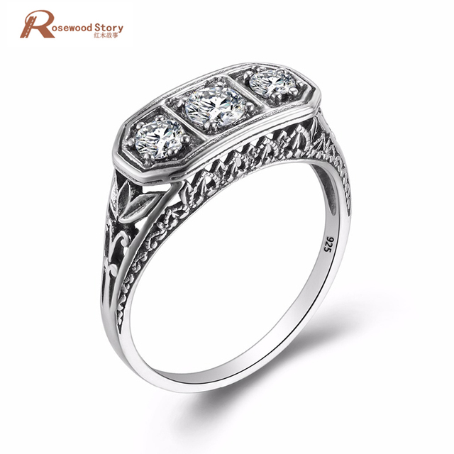 Luxurious Vintage Wedding Accessories Round Shaped Cut Cubic Zirconia Ring Soild