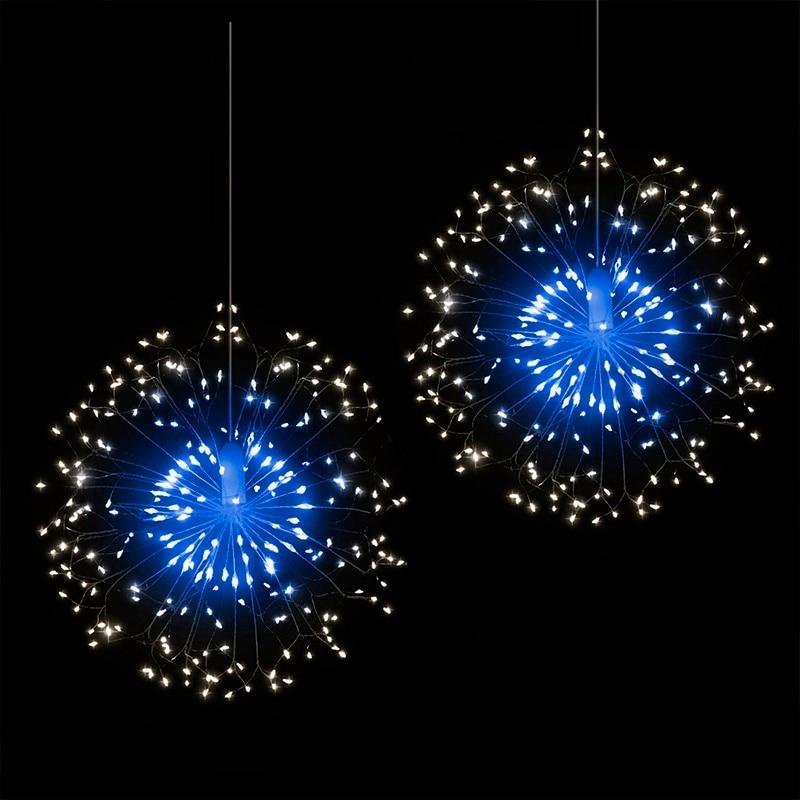 120 LED Outdoor IP65 Hanging Starburst String Light Firework Copper Lights Xmas String Fairy Christmas Lights Remote Control