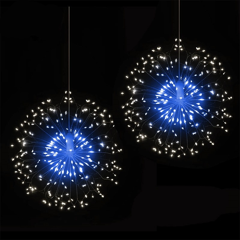 Outdoor IP65 Hanging Starburst String Light 120 LED Firework Copper Lights  Christmas Hanging Light String Xmas Decoration