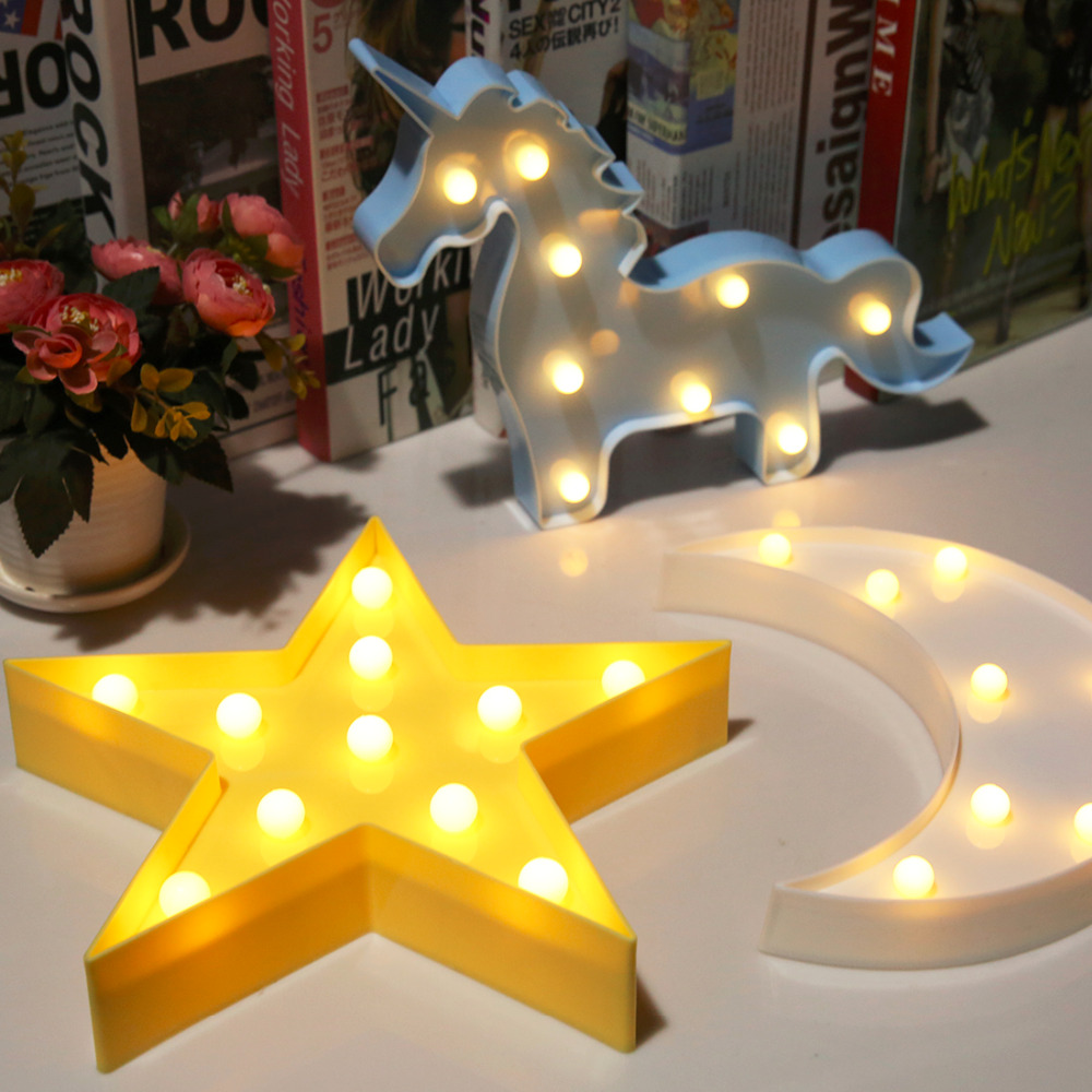 Moon Cactus Cloud Night Light 3D Luminaria Star Led Lamp Nightlight Marquee Letter Gift Toys Bedroom Decor For Kids Baby
