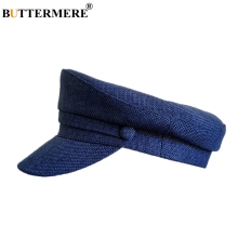 BUTTERMERE Linen Military Hats Men Solid Navy Blue Army Hat Fascinator Women Plain Breathable Brand Summer Baker And Caps