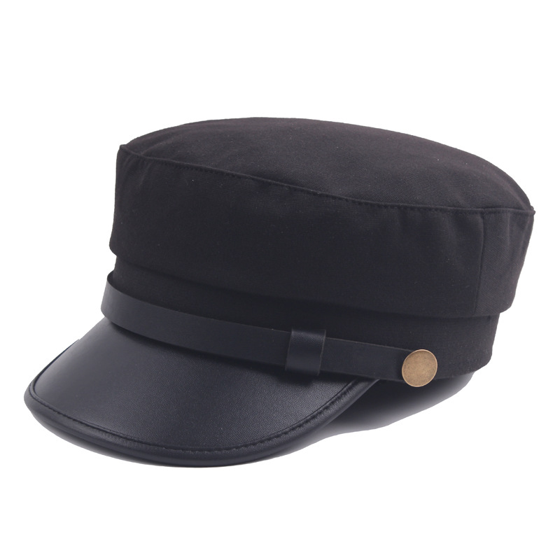 2018 Men's & Women's Accessories Hats Spring & Autumn Winter Navy Cap Berets PU Soft Fur Mens Flat Top Hat Student Caps Snapback