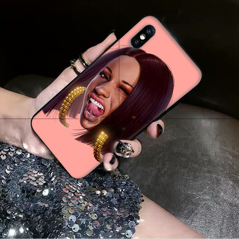 , Babaite American Rap Singer Cardi B Soft Silicone black Phone Case for Apple iPhone 8 7 6 6S Plus X XS MAX 5 5S SE XR Cover