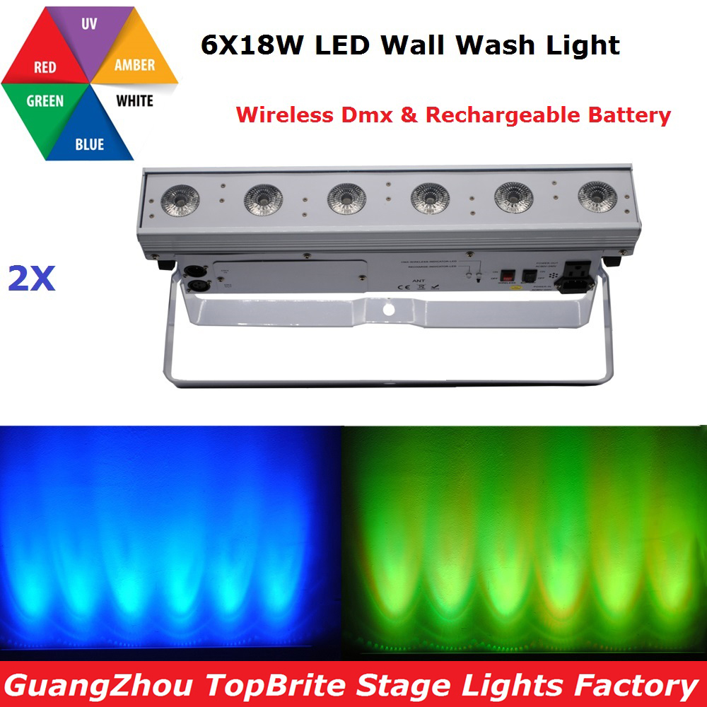 2017 NEW 2XLot Led Wash Light 6*18W RGBWA-UV 6IN1 Led Wall Washer Light With Wireless DMX and Battery DJ Disco Washer Lighting