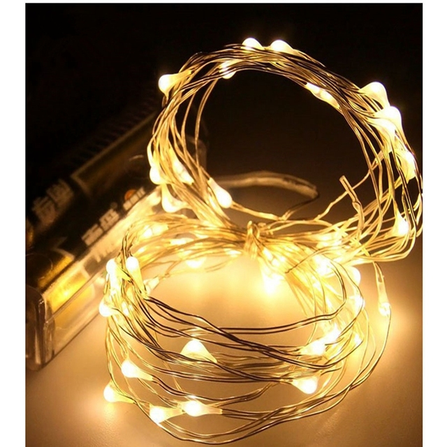 Battery Led String Lights 10m Natale Decoration Lamp Garland Fairy Copper Silver Wire Mini