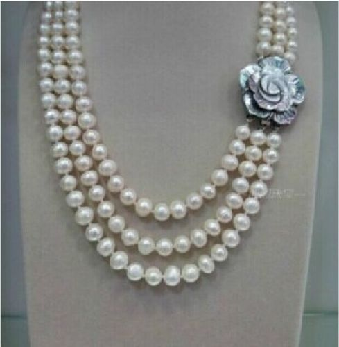 ddh002039 triple strands 8-9mm natural Australian south sea white pearl necklace 28% Discount (A0501)