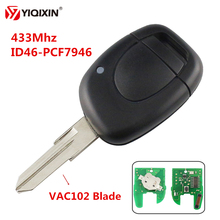 YIQIXIN 1 Button VAC102/NE73 Blade Remote Car Key For Renault Twingo Clio Kangoo Master 433Mhz ID46-PCF7946 Transponder Chip недорого