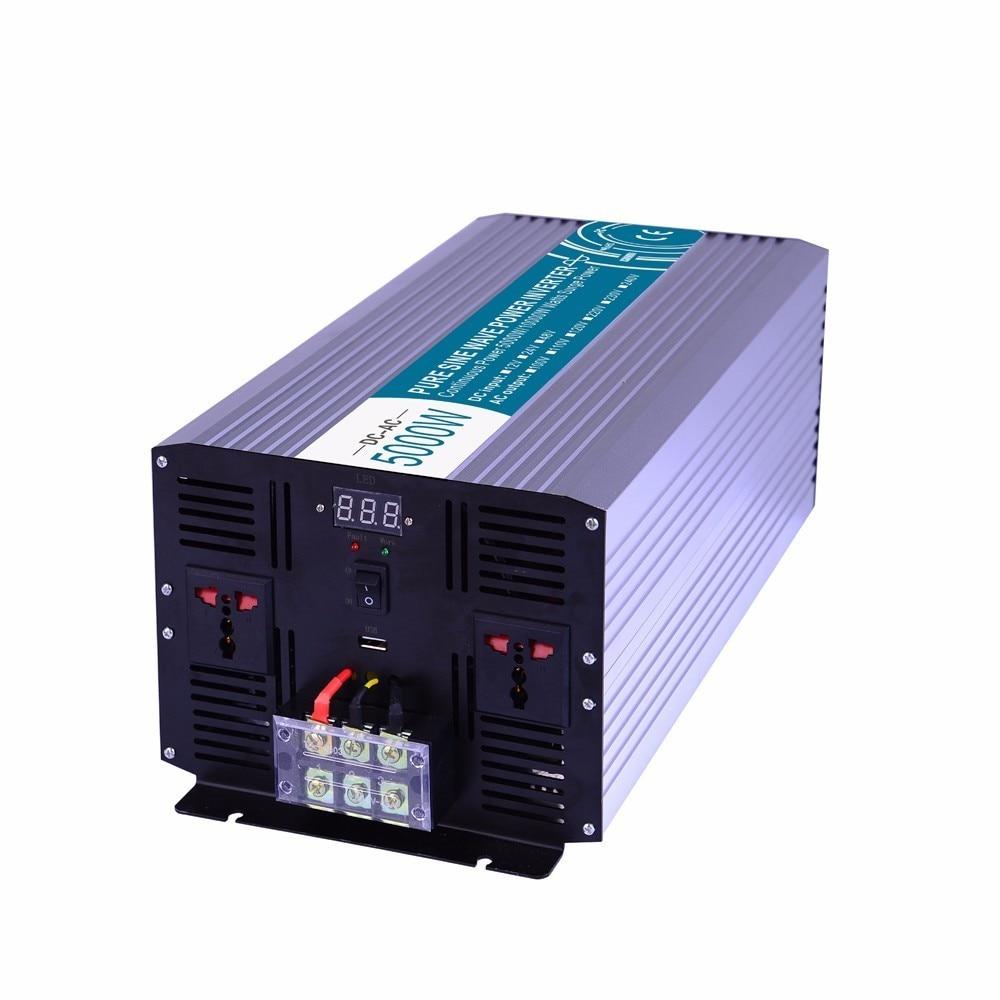 -Alta powe 5000 W Inversor de Onda Senoidal Pura, DC12V/24 V/48 V Para AC110V/220 V, off Grid Solar Inversor, Conversor de voltagem de Trabalho Com a Bateria