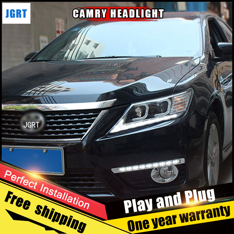 Car Style LED headlights for Toyota Camry 2012-2014 for Camry head lamp LED DRL Lens Double Beam H7 HID Xenon bi xenon lens hireno headlamp for 2016 hyundai elantra headlight assembly led drl angel lens double beam hid xenon 2pcs