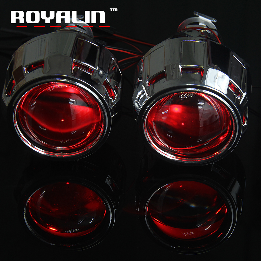ROYALIN HID Bi-Xenon Projector Lens 2.5'' External HeadLights Lens w/Shrouds Black Sliver Devil Eyes Red Blue Yellow Green White royalin car styling hid h1 bi xenon headlight projector lens 3 0 inch full metal w 360 devil eyes red blue for h4 h7 auto light