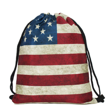 40d53cce5f 3D Stampato Femminile Studente Zaini Vintage Coulisse Borse Vendita Calda  USA American Flag Zaino