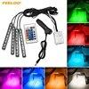 4Pcs Set Car Interior Decorative RGB LED Strip Light Atmosphere Lamp Kit Foot Lamp With 24