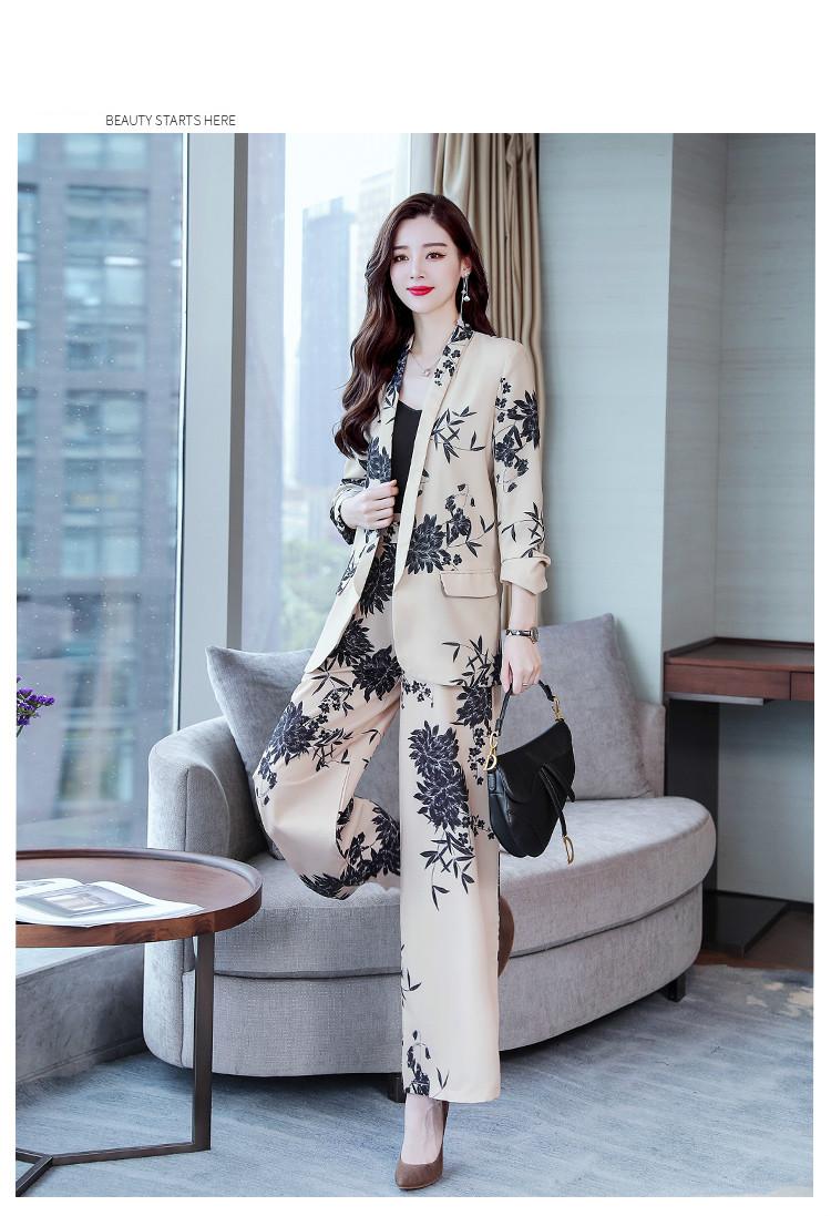 YASUGUOJI New 2019 Spring Fashion Floral Print Pants Suits Elegant Woman Wide-leg Trouser Suits Set 2 Pieces Pantsuit Women 15