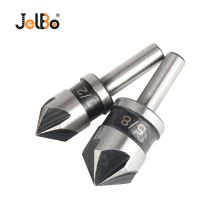 JelBo 2PCS/Lot HSS 5 Flute Countersink Drill Bit 1/2 5/8 Round Shank 82 Degree Point Angle Chamfer Cutter