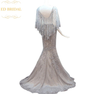 2018 Bride Luxury Crystal Beading Long Evening Dress Sexy Backless Grey Lace Fishtail Sweep Train Luxury Prom Dress