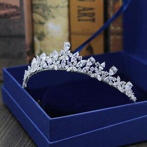Image 4 - SLBRIDAL מדהים מעוקב זירקון חתונה נזר CZ כלה סרט מלכת נסיכת תחרות מסיבת כתר השושבינות נשים תכשיטים