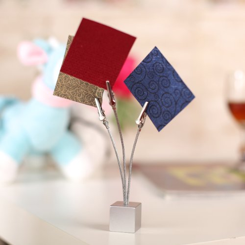Affordable 3 clips Cube base wire memo holder paper Note clip - Silver Grey wire