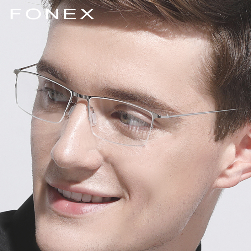 Titanium Alloy Eyeglasses Frame Men Square Myopia Prescription New Women Half Optical Glasses Frames Male Korean Eyewear 8101 in Men 39 s Eyewear Frames from Apparel Accessories